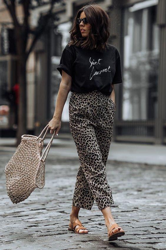 cheetah print trousers