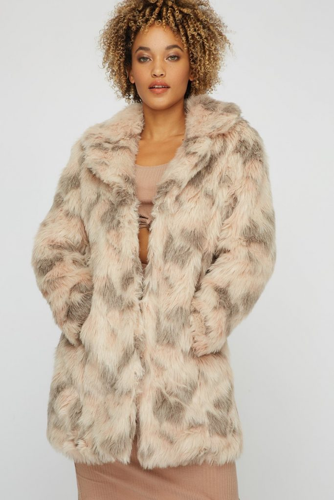 faux-fur abstract coat