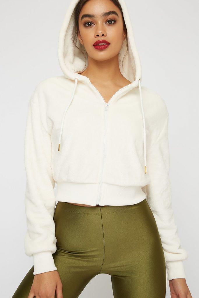 faux-fur cropped hoodie