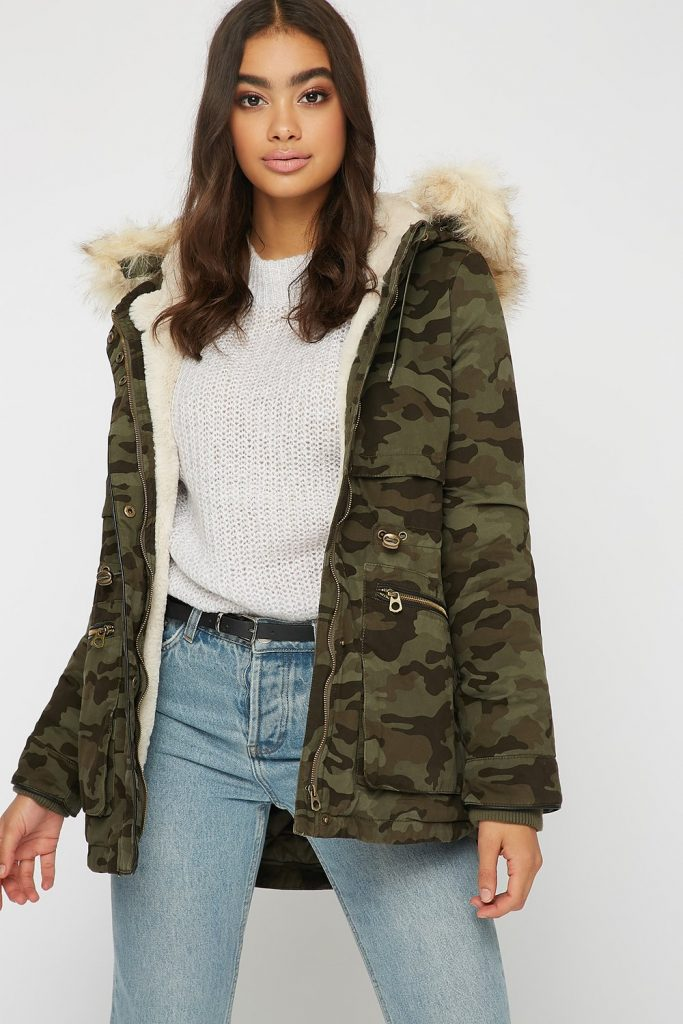 faux-fur hood zip-up parka jacket