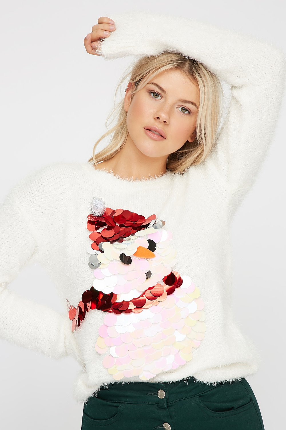 faux fur sequin ugly christmas sweater