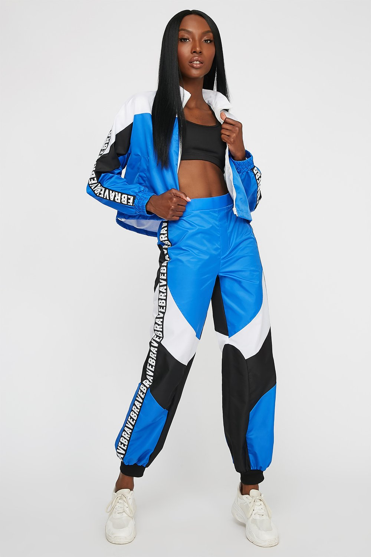 graphic colour block track pant