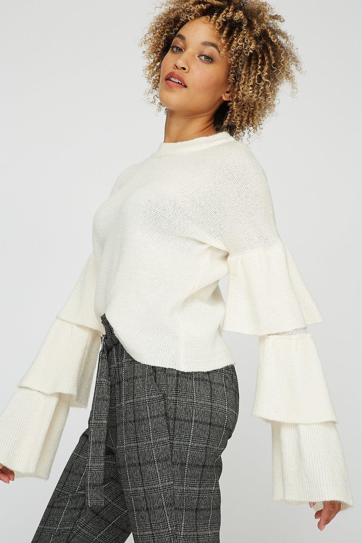 layered ruffle knit sweater