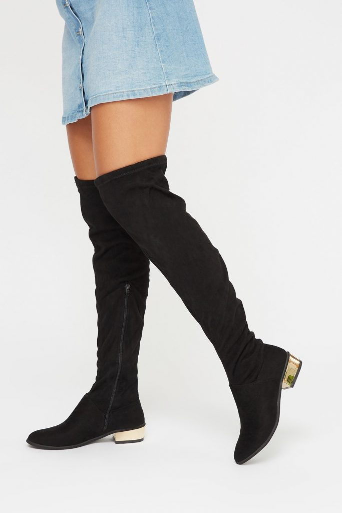 metal heel over the knee faux suede boot