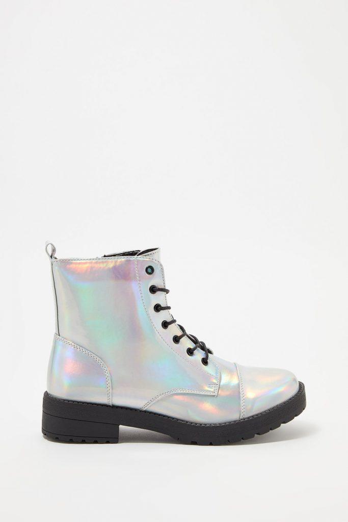 metallic combat boot