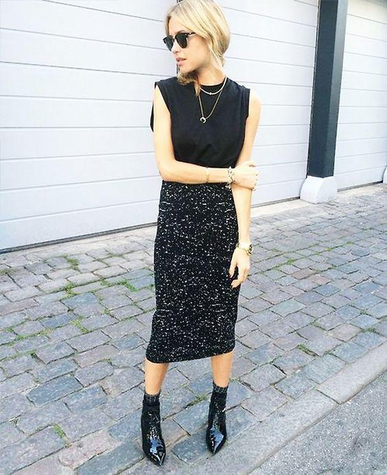 midi skirt - booties
