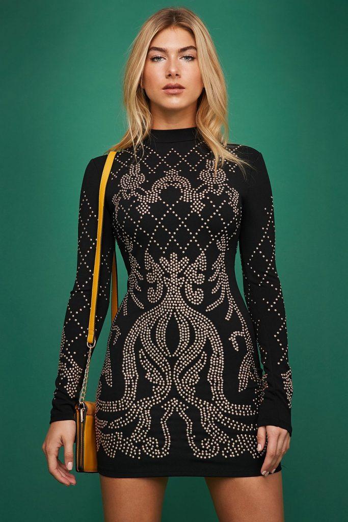 mock-neck long sleeve mini dress