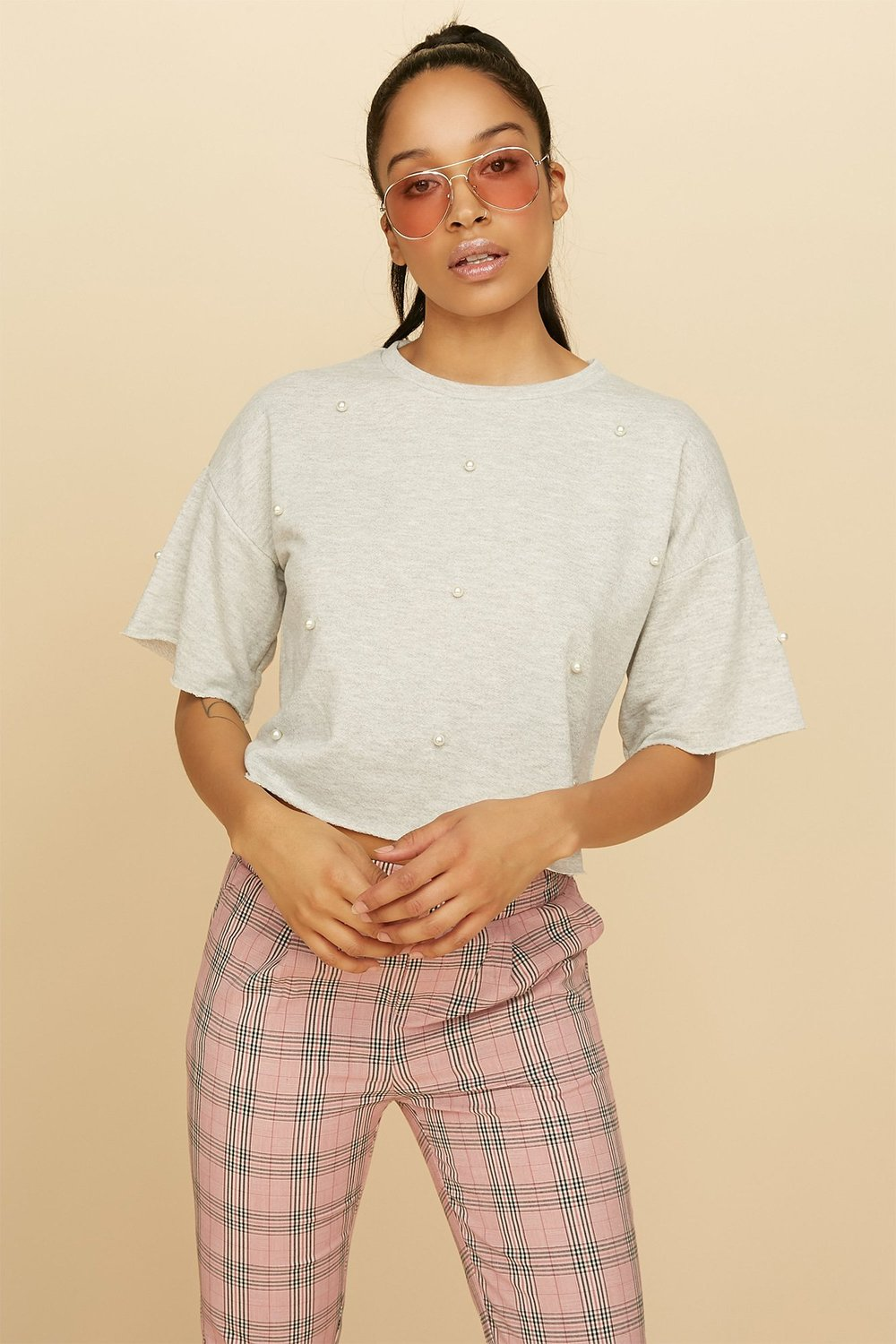 pearl cropped popover sweater