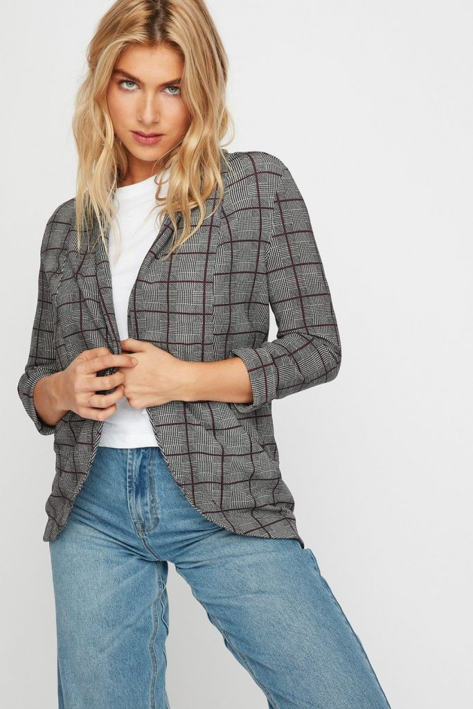 plaid collar blazer