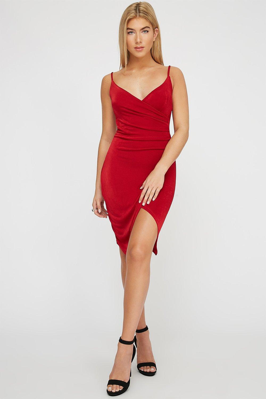 ruched asymmetrical slit mini dress