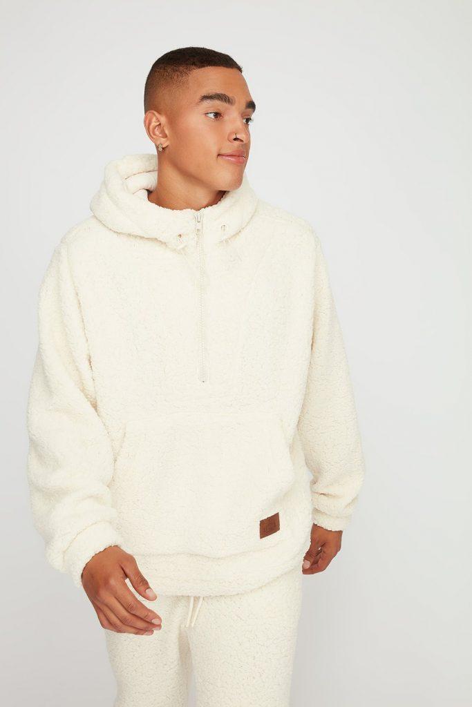 sherpa drawcord hoodie
