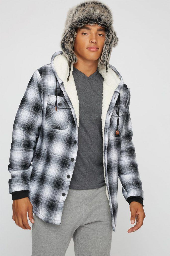 sherpa flannel hoodie