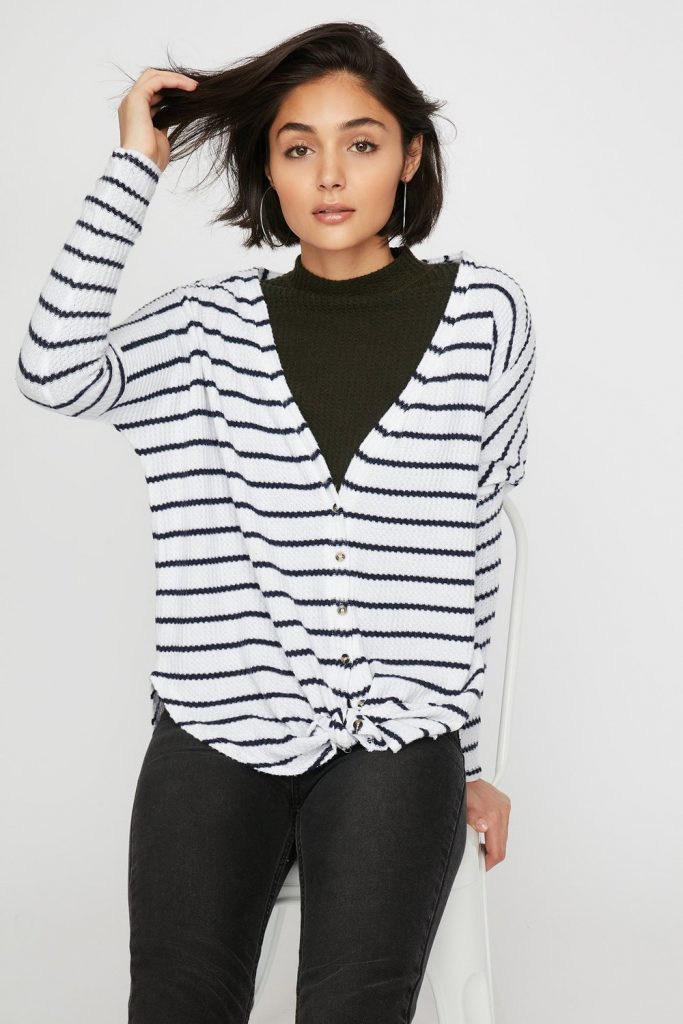 striped button-up cardigan