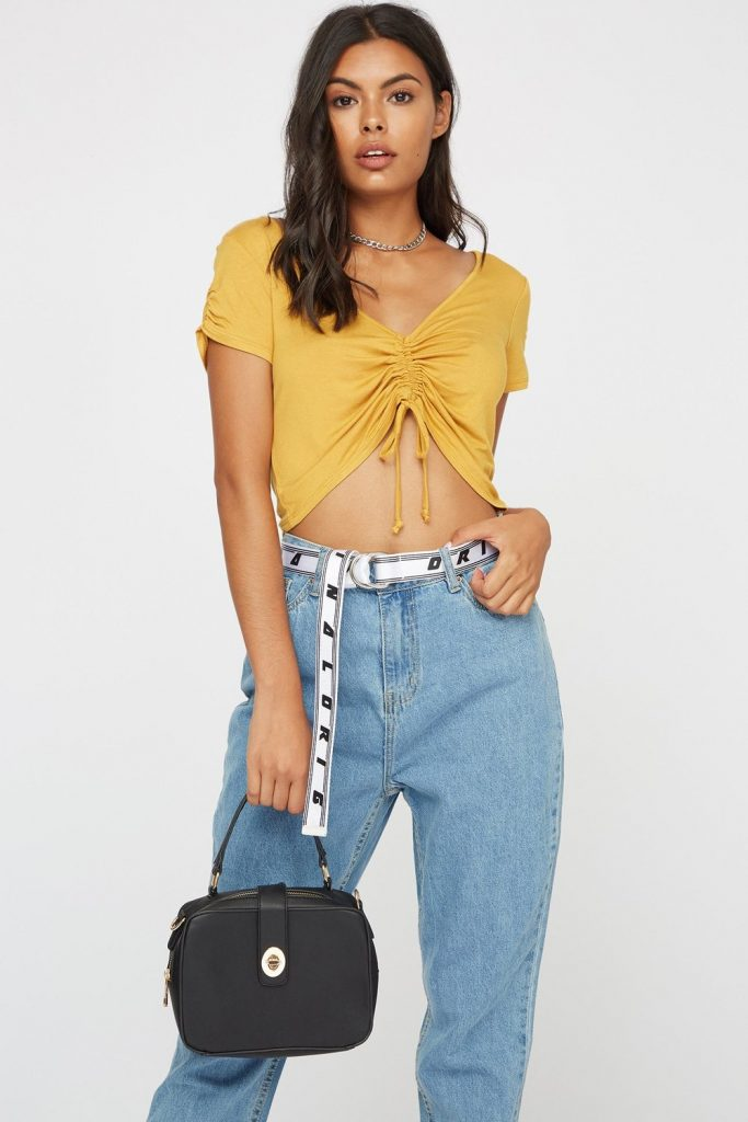v-neck cropped mustard t-shirt