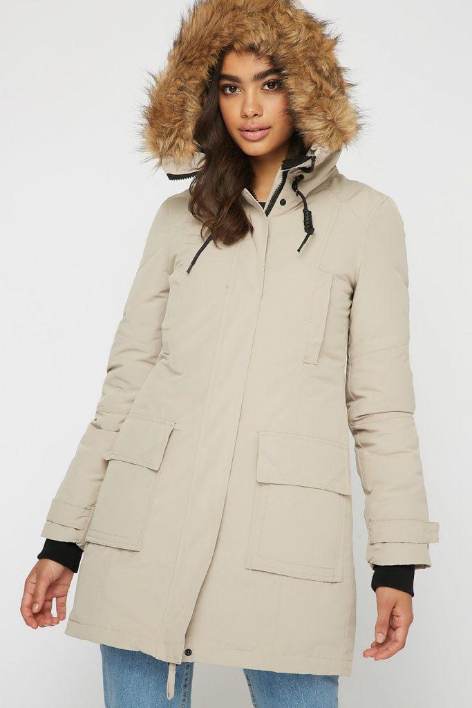 beige parka jacket