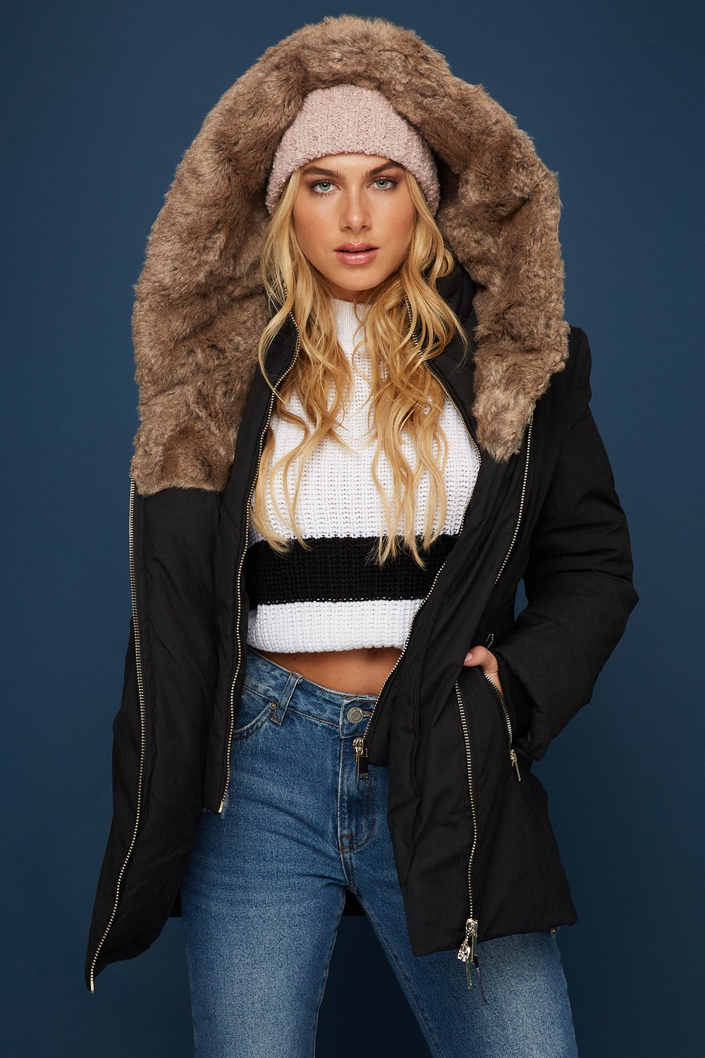 faux-fur parka jacket