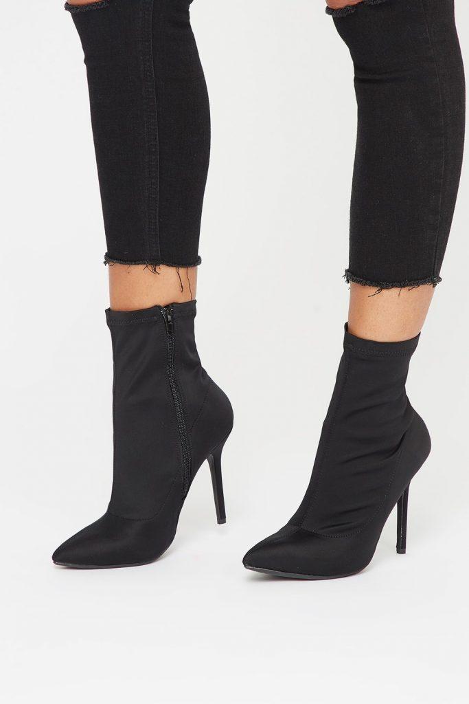 lycra stiletto heel bootie