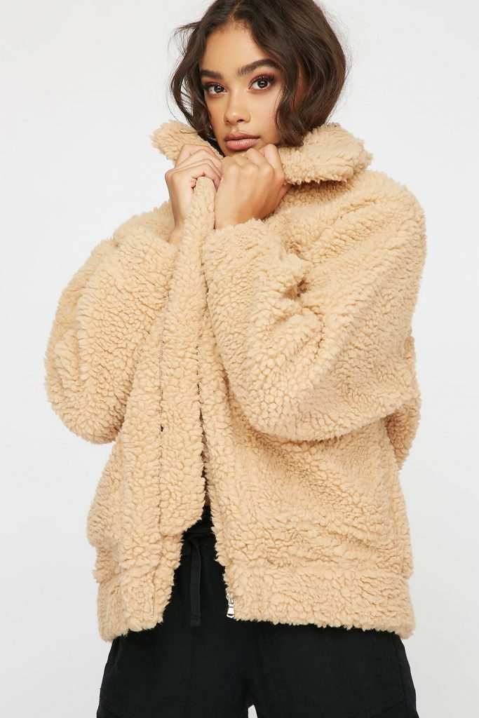 oversized faux-fur sherpa teddy jacket