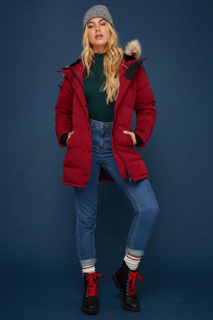 red parka jacket