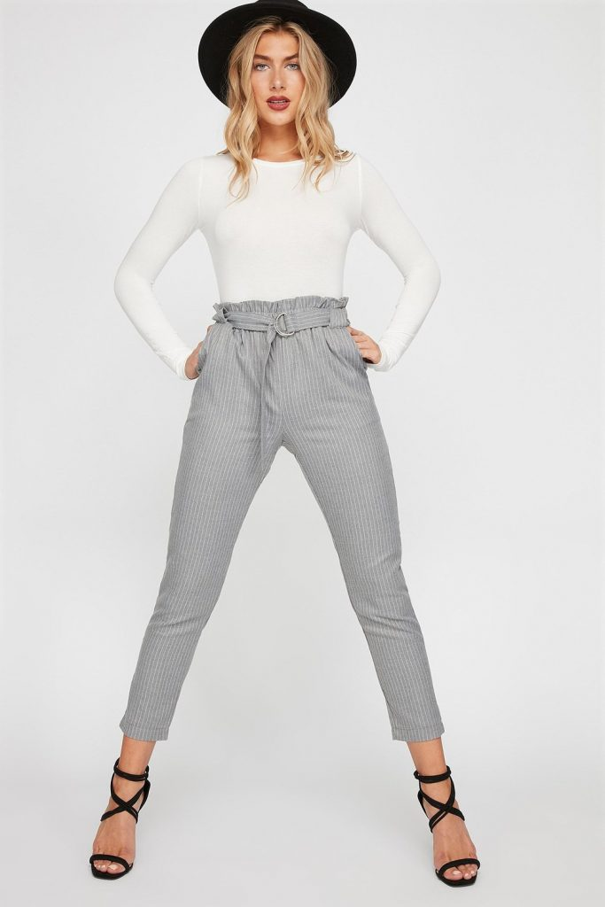 ruffle high rise striped skinny pant