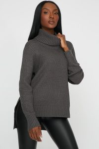 side slit turtleneck sweater