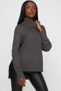 side slit turtleneck sweater