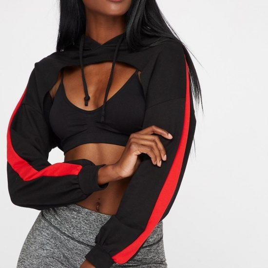 side stripe drawstring hoodie