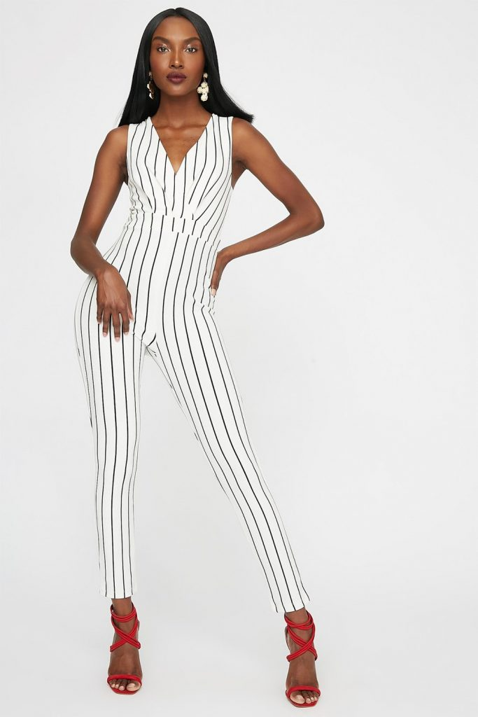striped skinny leg jumpsuit