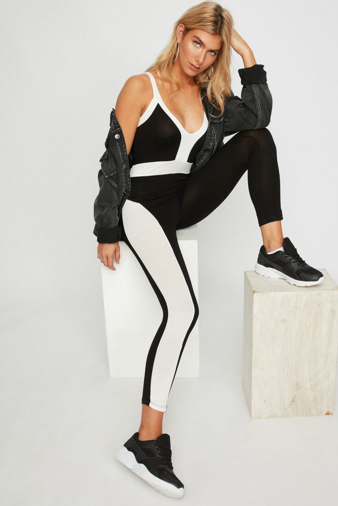 v-neck color block stripe jumpsuit