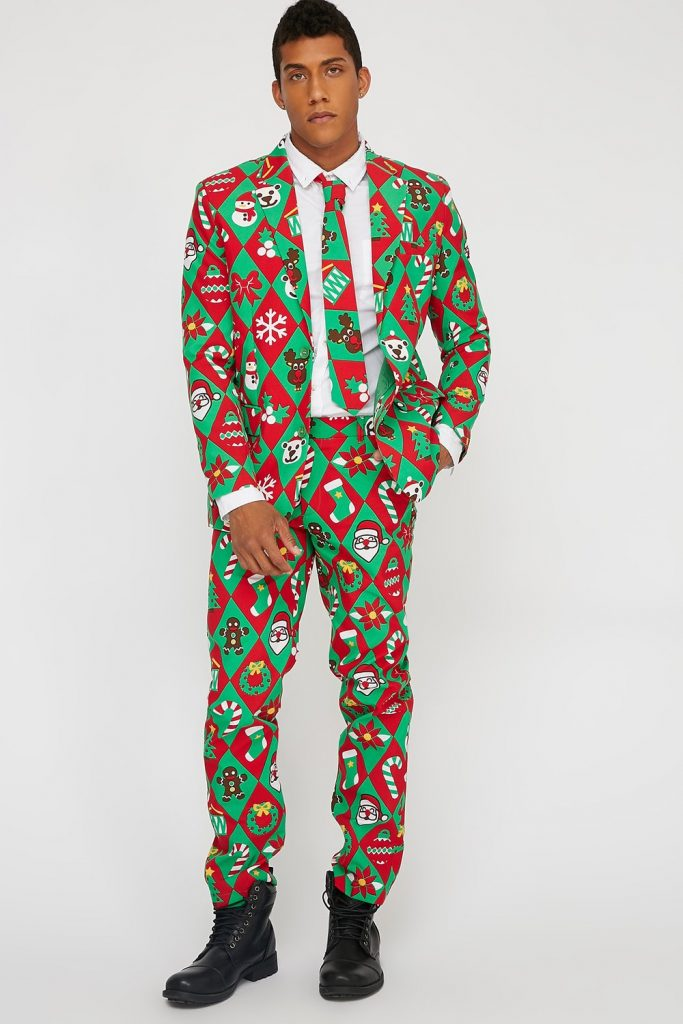 character printed ugly Christmas suit