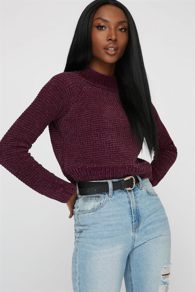 mock neck chenille sweater