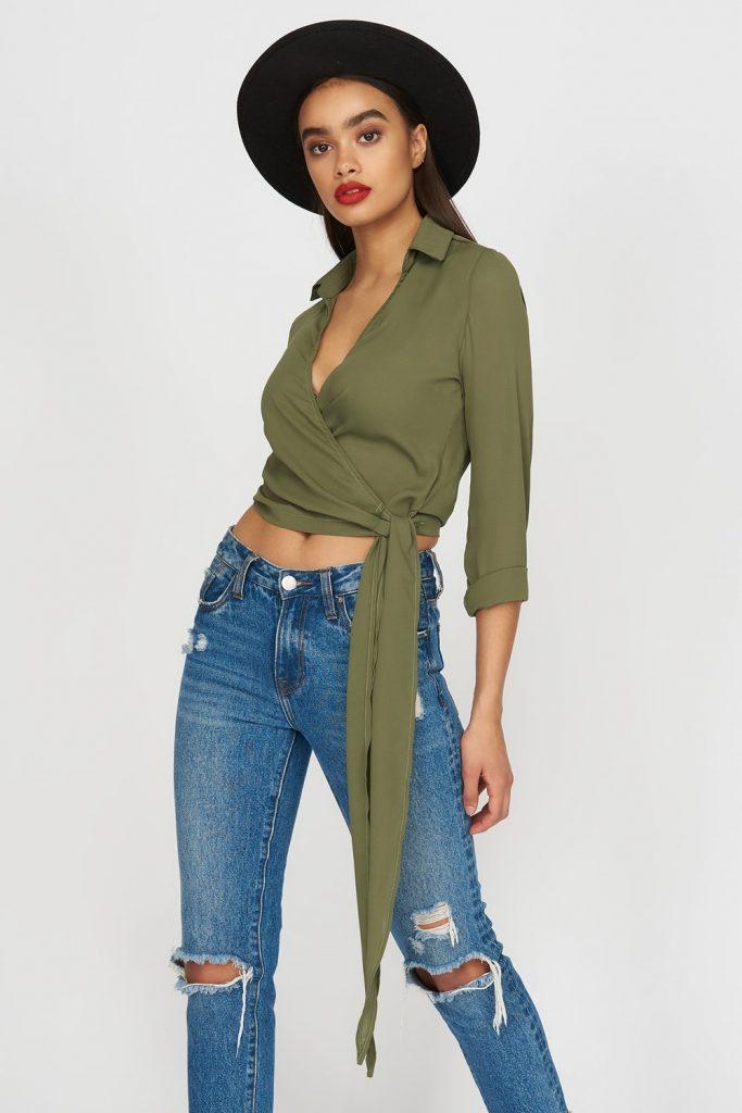 chiffon wrap blouse