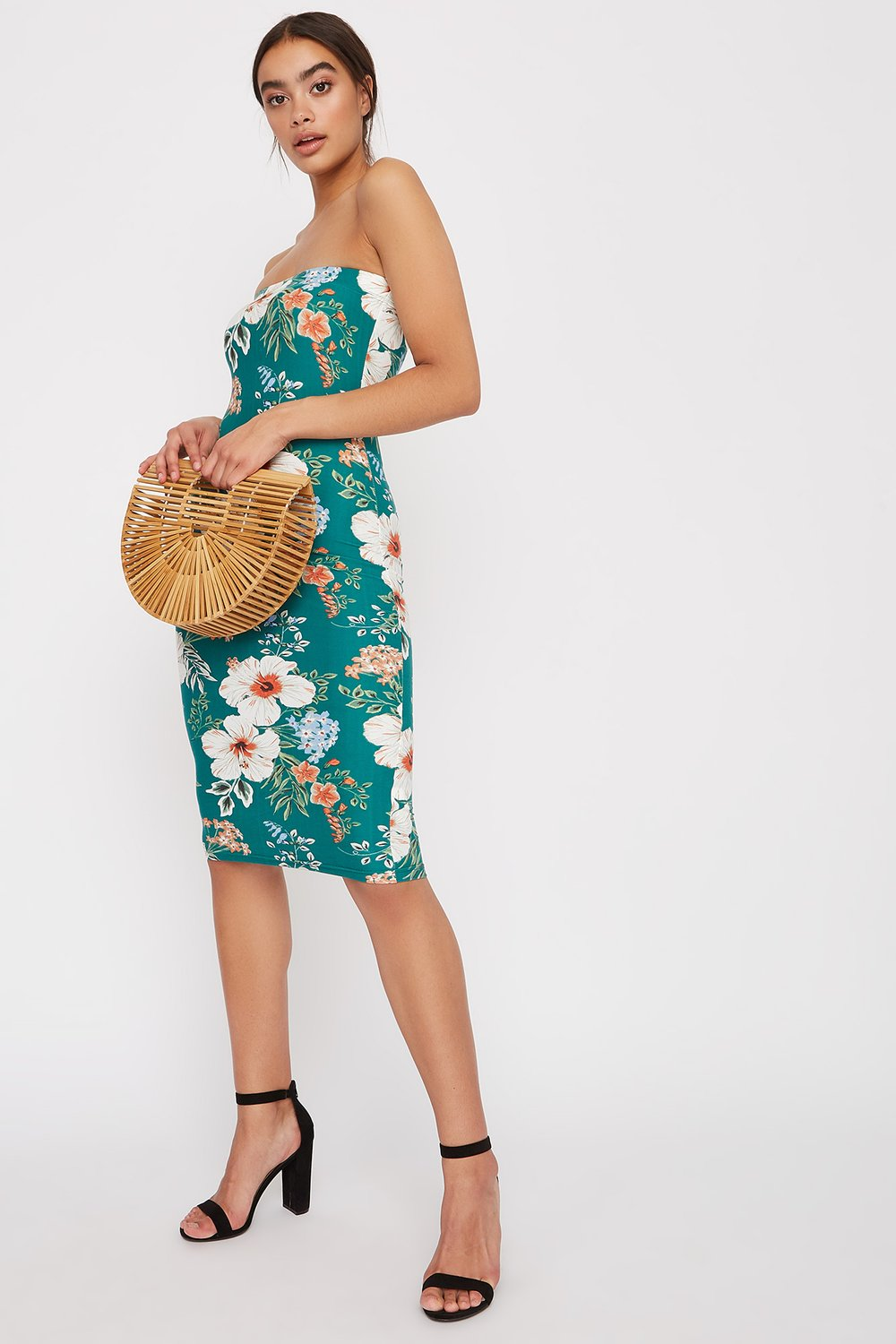 printed tube midi dress