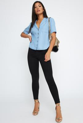 chambray top feat
