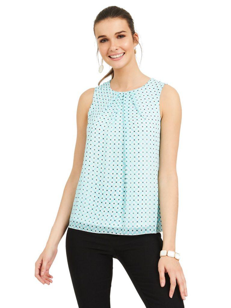 geo sleeveless blouse