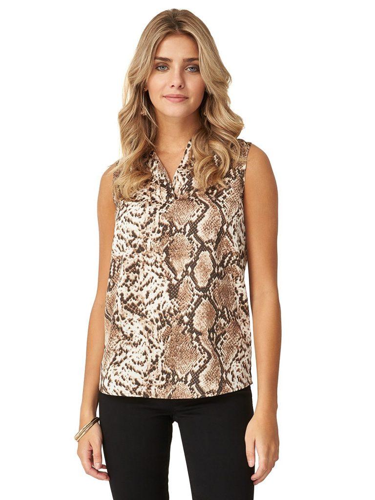 snake print blouse