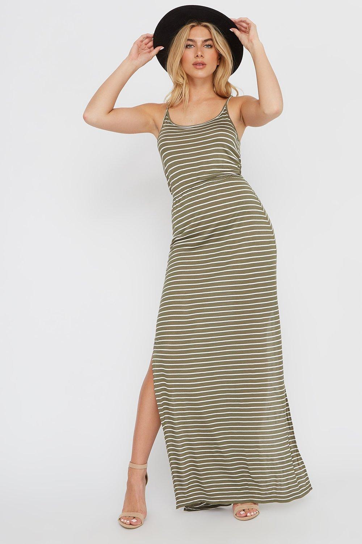 striped slit maxi dress