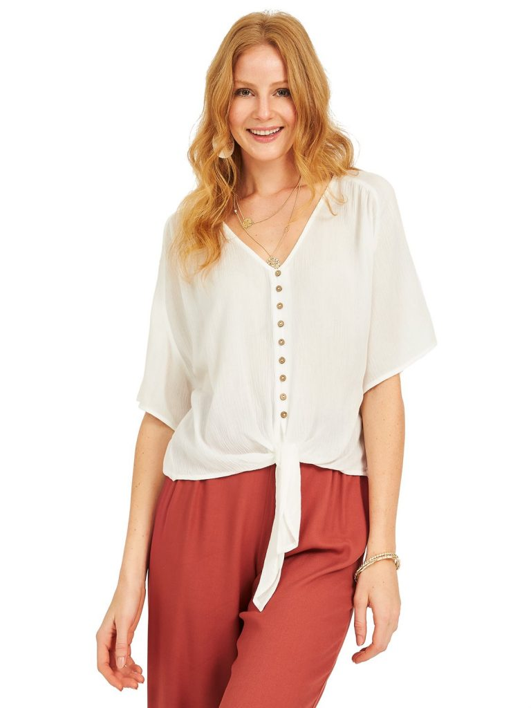 v-neck front blouse