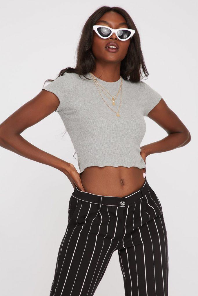 knit cropped t-shirt