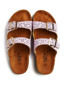 scalloped buckle sandals
