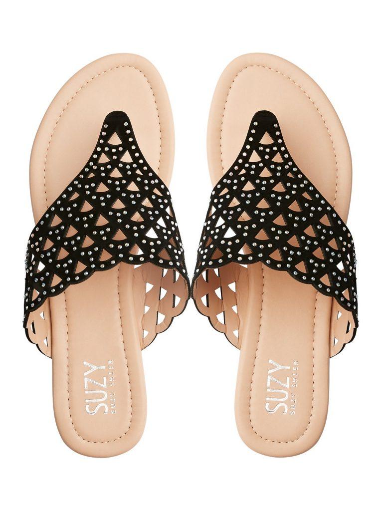 scalloped t-bar sandals