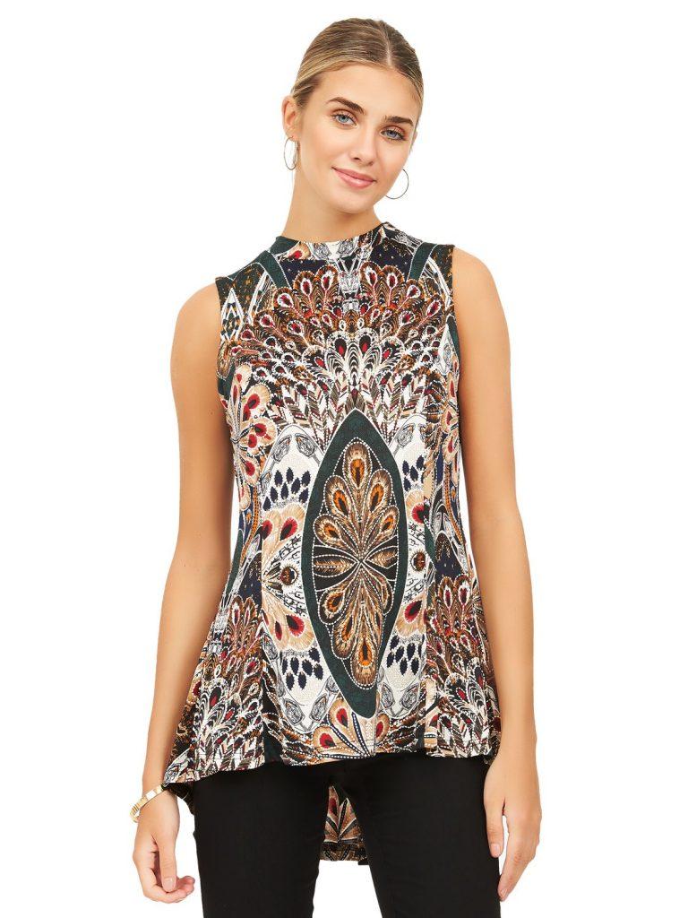 sleeveless print top
