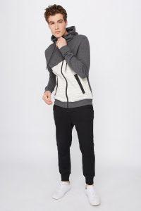 colour block zip-up sweater