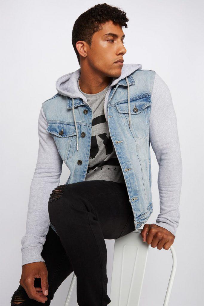 contrast denim jacket