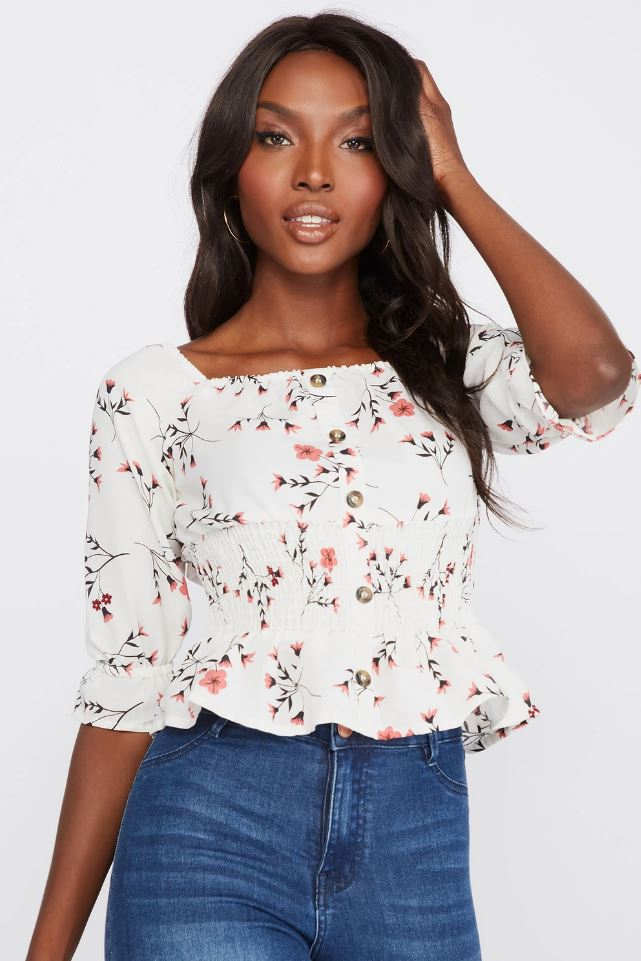 floral square top