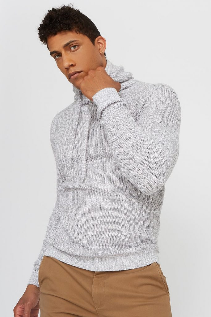 knit popover hoodie