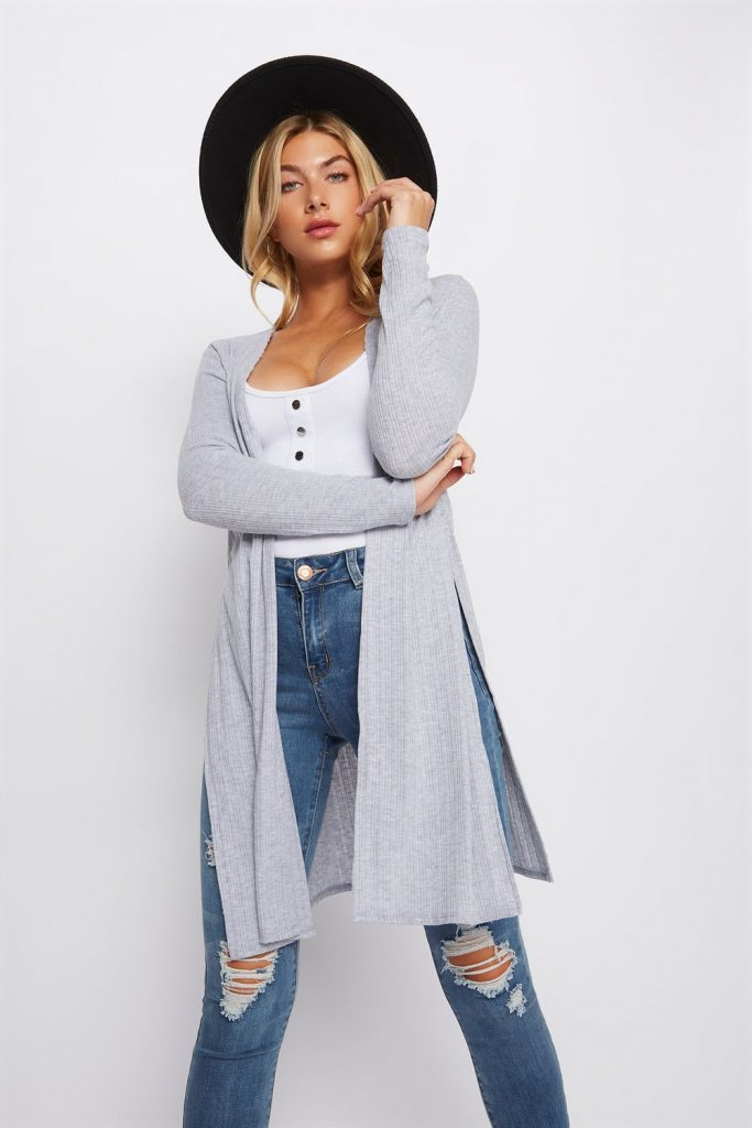 knit side slit cardigan