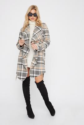 plaid waterfall jacket