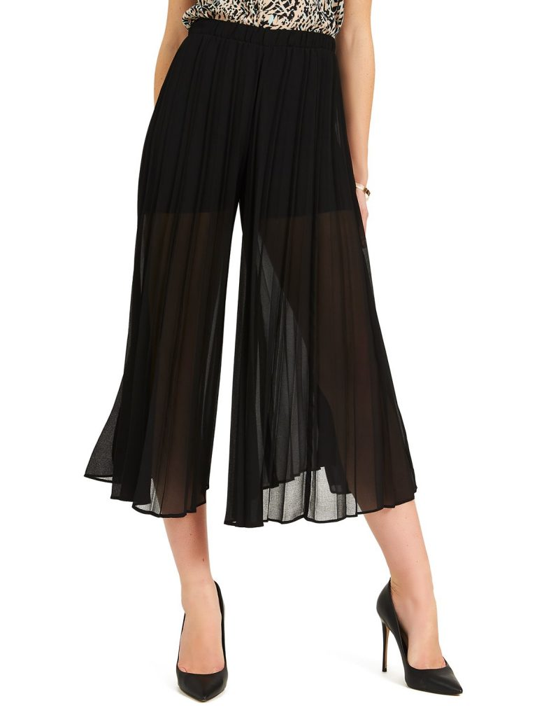 pleated chiffon guacho pants