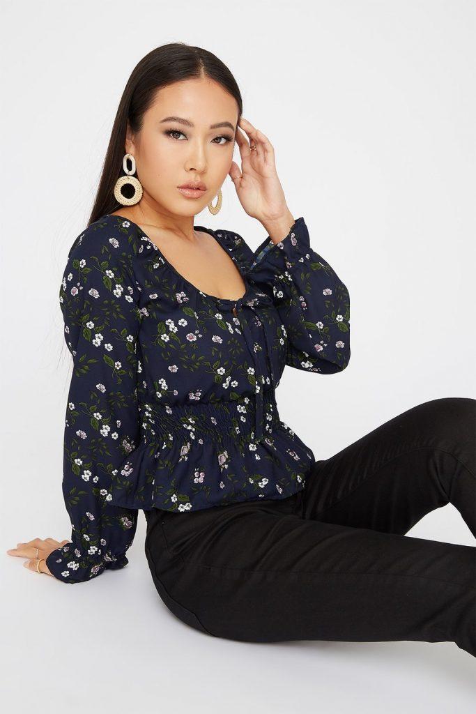 printed smocked blouse